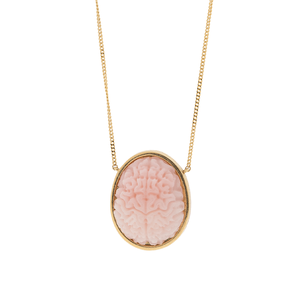 Pink Brain Necklace